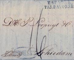 "1818 PORTUGAL , LISBOA - SCHIEDAM ( HOLANDA ) , MARCA "" LISBOA "" EN ÓVALO , "" ESPAGNE PAR BAYONNE "" - Portugal"