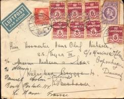 Lettre Du Danemark Avec Changement Pour La France, Le Havre, + Tbre Perforé, 1946       (bon Etat) - Affrancature Meccaniche Rosse (EMA)