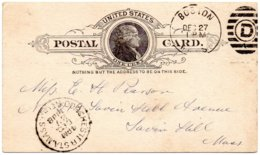 ÉTATS-UNIS - Entier Postaux Postal Card - BOSTON 1888 - Interi Postali