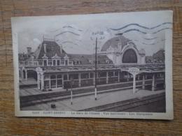 """Saint-brieuc , La Gare De L'ouest , Vue Intérieure , Les Marquises """""""" Timbre Et Cachet De 1954 """""""" - Saint-Brieuc"""