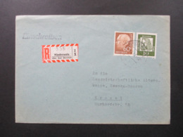 BRD 1956 / 62 Einschreiben R-Zettel  Niederaula über Bad Hersfeld MiF Heuss II Nr. 262 Und Bedeutende Deutsche - [7] Federal Republic