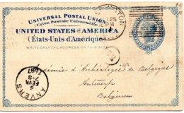 ÉTATS-UNIS - 1887 Des États-Unis à Anvers, En Belgique - Enteros Postales
