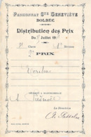 Distribution De Prix Pension Sainte Geneviève Bolbec 1908 2è Prix écriture Piednoël - Alte Papiere