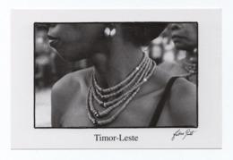 ART POSTCARD EAST TIMOR LESTE LOSPALOS WOMAN & Traditional Necklace - East Timor