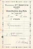 Distribution De Prix Pension Sainte Geneviève Bolbec 1908 1er Prix De Grammaire Piednoël - Vecchi Documenti
