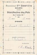 Distribution De Prix Pension Sainte Geneviève Bolbec 1908 Prix De Récitation Piednoël - Alte Papiere