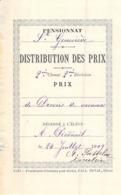 Distribution De Prix Pension Sainte Geneviève Bolbec 1909 Prix De Devoirs De Vacances  Piednoël - Vecchi Documenti
