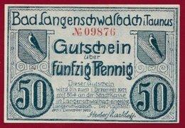 Allemagne 1 Notgeld  De 50 Pfenning Stadt  Langenschwalbach (RARE )   Dans L 'état N° 4925 - [ 3] 1918-1933 : República De Weimar