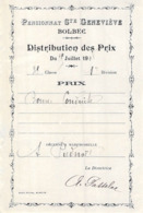 Distribution De Prix Pension Sainte Geneviève Bolbec 1909 Prix De Bonne Conduite   Piednoël - Alte Papiere