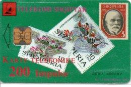 Timbre Stamp Télécarte Albanie Phonecard Téléphone PTT-VE (G 213)) - Francobolli & Monete