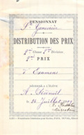 Distribution De Prix Pension Sainte Geneviève Bolbec 1909 2 ème Prix D'examens  Piednoël - Alte Papiere