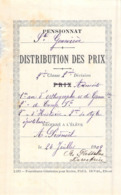 Distribution De Prix Pension Sainte Geneviève Bolbec 1909 Orthographe Histoire Etc   Piednoël - Vecchi Documenti