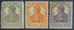 DEUTSCHES REICH 1916 - MLH - Mi 98, 99, 101 - Germania 2,5pf 7,5pf 14pf - Deutschland