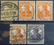 DEUTSCHES REICH 1916 - Canceled - Mi 98, 99A, 99B, 100, 101 - Germania 2,5pf 7,5pf 15pf - Gebruikt
