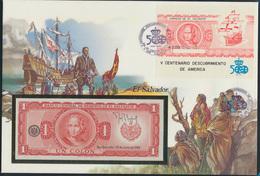 Geldschein Banknote Banknotenbrief El Salvador + Briefmarken 1 Colon P133A  - Banknoten