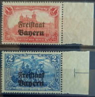 BAVARIA 1919 - MNH - Mi 148B, 149B - 1M, 2M - Randstücke! - Bayern (Baviera)