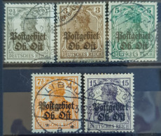 POSTGEBIET OBER-OST 1916 - Canceled - Mi 1, 2, 3, 4, 6 - 2,5pf 3pf 5pf 7,5pf 15pf - Ocupación 1914 – 18