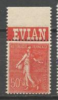 SEMEUSE PUB EVIAN N° 199 TYPE IV  NEUF**  SANS CHARNIERE Adhérence / MNH - Advertising