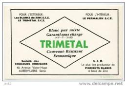 AUBERVILLIERS / Buvard TRIMETAL Société Des COULEURS ZINCIQUES - Löschblätter, Heftumschläge