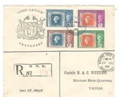 Mau003 / MAURITIUS - Briefmarken-Jubiläum (100 Jahre) Einschreiben, FDC - Mauritius (...-1967)