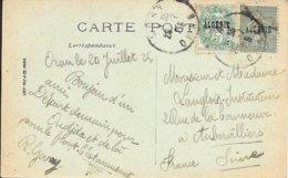 TIMBRES SURCHARGES 5c BLANC ET 15c SEMEUSE -  ORAN 1925  -  CPA PALMIERS ET REGIMES DE DATTES - Algeria (1924-1962)