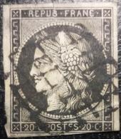FRANCE Y&T N°3 Cérès 20c Noir Sur Jaune Oblitéré Grille - 1849-1850 Cérès
