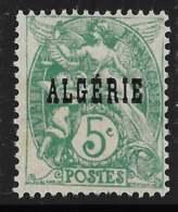 Yvert 6 Maury 6 - 5 C Vert Bleu Type Blanc Type I - (*) - Algérie (1924-1962)