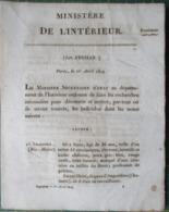 WANTED ! BAGNES PRISONS JUSTICE AVIS DE RECHERCHE BAGNARDS FORCATS BRIGANDS OU PRISONNIERS  1819 - Historische Dokumente