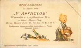 CDV Publicitaire Du Club Mozart à Paris 16e - Ecriture Cyrillique Russe - Cartes De Visite