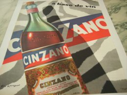 ANCIENNE PUBLICITE A BASE DE VIN  APERITIF  CINZANO 1959 - Alcolici
