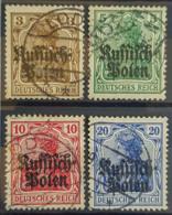 POLAND UNDER GERMAN OCCUPATION 1915 - Canceled - Mi 1, 2, 3, 4 - Ocupación 1914 – 18