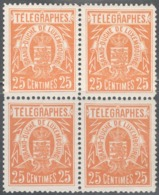 Luxemburg Yvert/Prifix Tel. 2 Bloc De 4 TB Sans Charnière Bon Centrage! Cote EUR 40+ (numéro Du Lot 501RL) - Telegraph