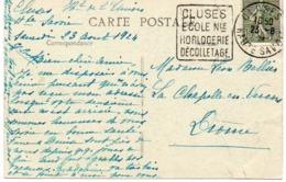 CARTE CHAMONIX - OBLITERATION DAGUIN  - CLUSES ECOLE NLE HORLOGERIE DECOLLETAGE- 1924 - Sellados Mecánicos (Publicitario)