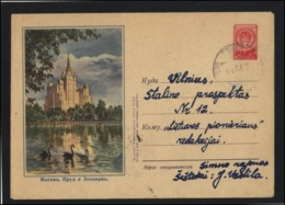 RUSSIA USSR Stamped Stationery Used 57-001 Moscow Zoo Birds Fauna SESTOKAI Cancellation LITHUANIA - 1923-1991 URSS