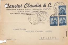 9593-VANCINI CLAUDIO E C.-MOTORI A SCOPPIO-BULLONERIA-CENTO(FERRARA)-1950-FG - Werbepostkarten
