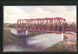 Künstler-AK Kleinbahn, Romney, Hythe And Dymchurch Railway, Crossing Duke Of York`s Bridge - Eisenbahnen
