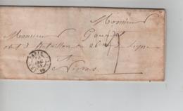 PR7541/ Précurseur LAC C.Paris 1844 Port 4 > Militaire Bataillon 26° De Ligne Nismes C.d'arrivée - 1801-1848: Precursores XIX