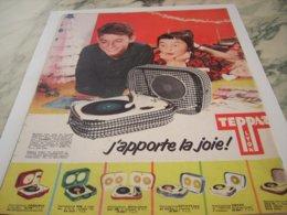 ANCIENNE PUBLICITE J APPORTE LA JOIE ELECTROPHONE  DE TEPPAZ 1959 - Music & Instruments