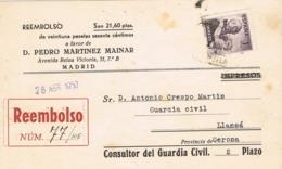 34362. Tarjeta Privada Certificada Contra Reembolso MADRID 1950. San Juan De Dios - 1931-50 Storia Postale