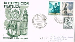 34365. Carta Certificada TORRENTE (Valencia) 1967. Exposicion Filatelica. PLAN SUR, Carteria - 1931-Hoy: 2ª República - ... Juan Carlos I