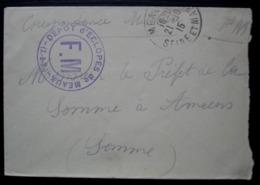 Meaux 1915 Dépôt D' éclopés Franchise Militaire Petite Lettre Pour Le Préfet De La Somme - Oorlog 1914-18