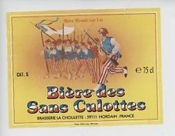 Etiquette Bière Des Sans-Culottes, Brasserie La Choulette - Hordain, Bière Blonde Sur Lie (12X9) - France