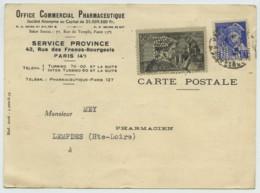 N° 448 Languedoc + Mercure N° 407 Perforés MS / CP 1940 Office Commercial Pharmaceutique . Pharmacie . - Francia
