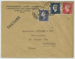 Type Dulac Trois Couleurs Perforés AC / Enveloppe Laboratoires Alfred Chauvin 1948 Aubenas . Pharmacie . - Francia