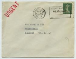 Type Semeuse N° 361 Perforé TK / Enveloppe 1937 Tokalon Pour Lempdes . Pharmacie . OMEC Paris RP Départ . - Francia