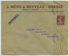 Type Semeuse N° 189 Perforé BH (Bénard & Honnorat) / Enveloppe 1930  . Pharmacie . OMEC Grasse . Lempdes . - Francia