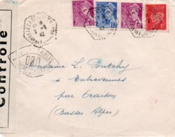 910Or  Courrier Lettre N°1 Cachet Censure Ovale Ouvert Par Les Autorités De Controle Escaldes (P.O.) 1942 - Covers & Documents