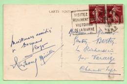 """DAGUIN  - DORMANS  """"VISITEZ LE MONUMENT DES VICTOIRES DE LA MARNE"""" - 1937 - Marcophilie (Lettres)"""
