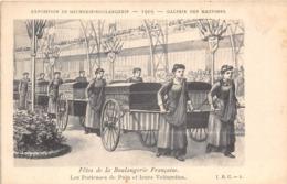 EXPOSITION DE MEUNERIE-BOULANGERIE-1903-FÊTE DE LA BOULANGERIE FRANCAISE LES PORTEUSES DE PAIN ET LEURS VOITURETTES - Expositions