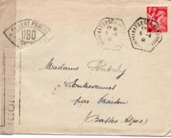 910Or  Courrier Lettre N°2 Cachet Censure Ovale Ouvert Par Les Autorités De Controle Escaldes (P.O.) Pour Oraison 1941 - Frankreich